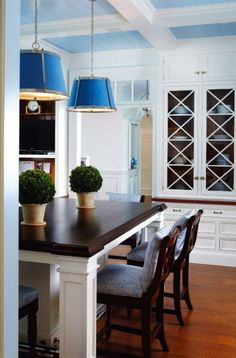 blue and white kitchen in Connecticut by Lynn Morgan