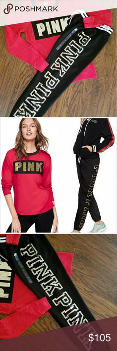 "🆕New! VS PINK LS Tee / Bling Classic Pant! Gorgeous! Both BNWT, Size XSMALL VS PINK LS Campus Sz XSMALL Red & Black with Gold Foil Graphics!   New Release! Stunning! VS PINK Bling Classic Pant  Sz XSMALL, Currently $80+tax  Crazy comfy, these cozy sweats feature sparkling bling details, a comfy drawstring waist, slim leg, and an elastic banded bottom.  Banded bottom Bling details 29"" inseam Relaxed fit Imported cotton/polyester  Adding lots of new items! Bundle and Save! Please chk out my…"
