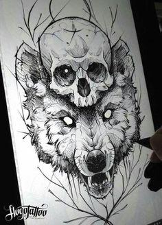 Fabulous Wolf Tattoo Design Ideas Suitable For Anyone Loves Spirit Animal 26 : Fabulous Wolf Tattoo Design Ideas Suitable For Anyone Loves Spirit Animal 26 Wolf Tattoos, Skull Tattoos, Mini Tattoos, Body Art Tattoos, Tribal Sleeve Tattoos, Tattoo Sketches, Tattoo Drawings, Art Sketches, Art Drawings