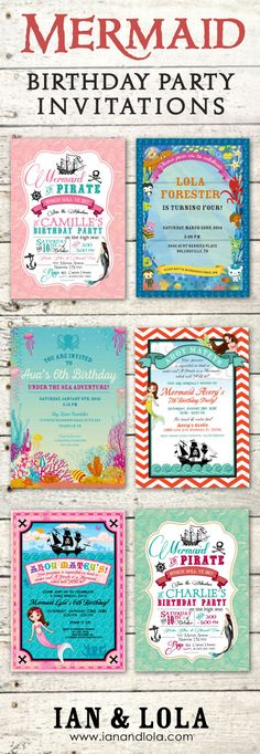 Unique and customizable mermaid and pirate party invitations at Ian and Lola. Purchase a customized digital DIY file or we print them for you on premium matte card stock. Add a photo, change the color scheme and graphics for no additional charge. Bespoke or fully custom designs available for $25. Pirate Birthday, Mermaid Birthday, 4th Birthday, Birthday Ideas, Pirate Party Invitations, Birthday Invitations, Invites, Kids Party Themes, Party Ideas