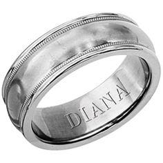 Titanium 6.5mm wedding band with brushed finish by Diana.