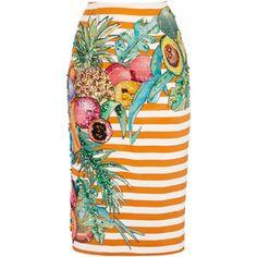 Stella Jean Aceto Hand-Painted Silk Skirt