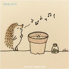 Whistle a happy tune Hedgie Hedgehog Art, Hedgehog Drawing, Cute Hedgehog, Cute Animal Drawings, Cartoon Drawings, Easy Drawings, Hedgehog Illustration, Cute Illustration, Animal Doodles