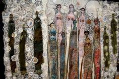Strong and beautiful, 2010 by Gordana Brelih. Monoprint on fabric, machine stitched felt,