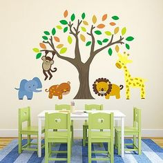 Jungle Animals And Tree Wall Stickers