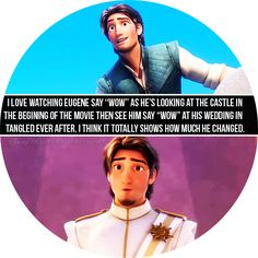 """I love watching Eugene say ""Wow"" as he's looking at the castle in the begining of the movie then see him say ""Wow"" at his wedding in Tangled Ever After. I think it totally shows how much he changed."" So true, I love Eugene! Disney Memes, Disney Quotes, Funny Disney, Disney Facts, Disney Tangled, Disney Magic, Tangled Movie, Disney And Dreamworks, Disney Pixar"