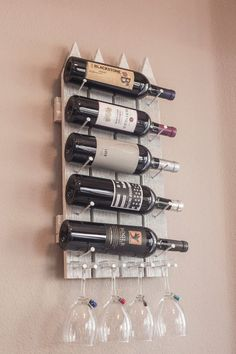 Handmade Wood Wall-Mount Wine Rack #Handmade