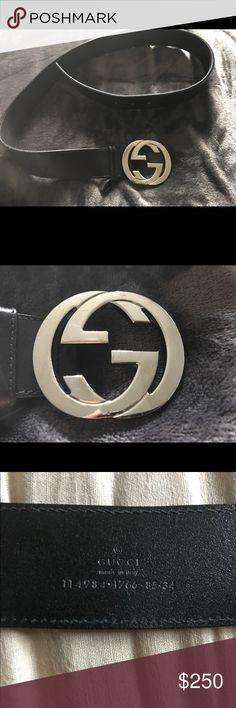 Authentic men's Gucci belt Black leather Gucci belt with silver flip flopped G's as the belt buckle! Belt buckle contains light to no scratches however an extra hole was made on the belt. Gucci Accessories Belts