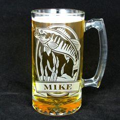 Personalized Bass Beer Mug, Engraved Gift for Fishermen, Rustic Gift for Men, Groomsmen Gift