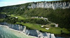 Thracian Cliffs in Kavarna, Bulgaria. Photo by Warren Little:  Framed by rugged coastal cliffs and the vast blue of the Black Sea, the 18-hole Gary Player designed Signature course at Thracian Cliffs is one of the most dramatic golf courses on earth and is the site of the Volvo World Match Play Championship. http://www.thraciancliffs.com/golf/overview #Golf #Bulgaria #Thracian_Hills