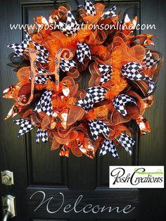 Fall Wreath, Halloween Wreath, Mesh Wreath, Burlap Wreath, Deco Mesh Wreath, Custom initial Monogram