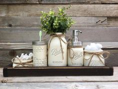 Etsy Rustic Bathroom Decor, Farmhouse Bathroom Decor, Mason Jar Bathroom Set, Southern Bathroom Decor I may receive compensation from the affiliated link. Rustic Bathroom Decor, Rustic Bathrooms, Rustic Decor, Rustic Style, Modern Rustic, Boho Bathroom, Primitive Decor, Bath Decor, Rustic Colors