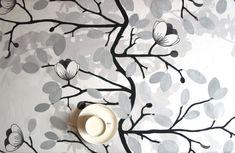 Tablecloth white black grey flowers  also napkins by Dreamzzzzz, $18.00