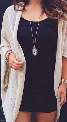 Great textured neutral cardigan with fitted grey dress.