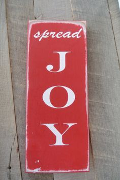 spread joy painted woooden sign Christmas decor by scrapartbynina, $10.00