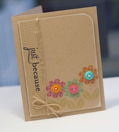 Just Because card using Papertrey Ink's Flower Fusion #12 & Script Sentiments