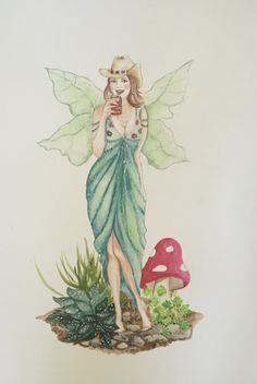 Original watercolour #painting of a gorgeous #fairy with #green grass and #wings drinking #beer #art #deenoney