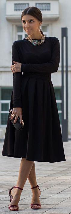 Rags To Riches- Black Long Sleeve Prom Midi Dress- ♔LadyLuxury♔