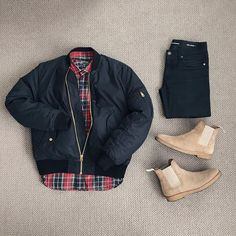 Des Garcons | @outfitgrid @acnestudios bomber jacket @commedesgarcons flannel shirt @ysl denim @commonprojects chelsea boots