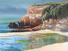 Oil Paintings Landscapes: Beach Pond