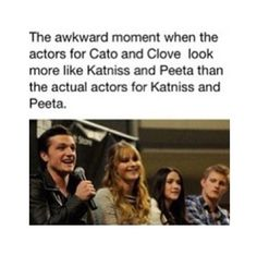 Haha this is probably more how I imagined them in the books. But Jennifer and Josh are the perfect Katniss and Peeta and Alex and Isabelle are the perf Cato and Clove!