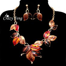 Envío gratis Women 's 18 k chapado en oro amarillo esmalte deja 4 colores la joyería de la cadena Pendant Necklace + Earrings(China…