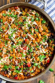 This Cheesy Taco Pasta cooks in ONE PAN and is perfect for busy nights. Made with chicken or ground beef and loaded with Mexican flavor. Healthy Mexican Recipes, Healthy Food Options, Healthy Pasta Recipes, Healthy Pastas, Easy Healthy Dinners, Beef Recipes, Yummy Recipes, Pasta With Kidney Beans