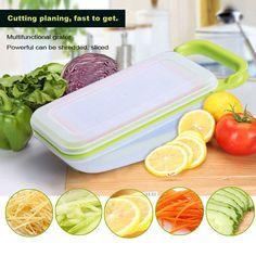 Vegetable Fruit Slicers Cutter Adjustable Stainless Steel Blades Multi-function ABS Peeler Grater Slicer Box
