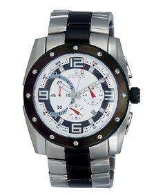 Black & White Chronograph Watch - Men's