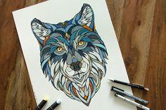 Wolf Drawing by Andreas Preis // Animal Poker // www.designerpreis.com
