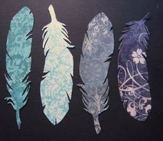 Feather Bookmarks from scrapbooking paper. We could even print the verse on the backside and then laminate for more use.