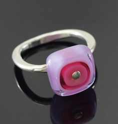 Items similar to Pink and Purple Ring - Art Glass Ring, Colorful Ring, Sterling Silver, Square Band, Size Kristin Perkins Glass Jewelry on Etsy Glass Jewelry, Glass Ring, Beaded Jewelry, Glass Beads, Unique Jewelry, Jewellery, Purple Rings, Square Art, Color Ring