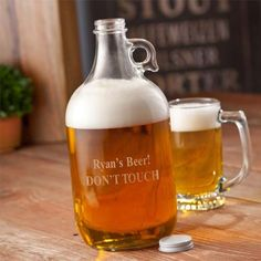 Personalized Brewery Growler is perfect for your craft beer drinker or hops connoisseur. Laser etched by hand with personalization of your choice for a creative twist! SIZE: 64oz Growler with twist of