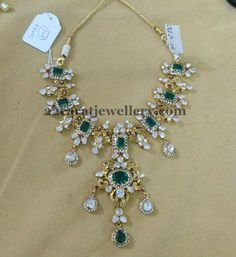Diamond Emerald Nakshi Necklace - Jewellery Designs