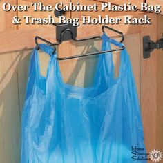 Over the cabinet plastic bag holder and trash bag holder rack {featured on Home Storage Solutions Recipe Organization, Home Organization Hacks, Organizing Tips, Household Products, Household Tips, Bathroom Storage Solutions, Plastic Bag Holders, Family Organizer, Trash Bag