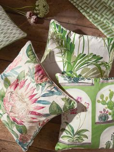 Sanderson King Protea Cushion, Rhodera at John Lewis & Partners Botanical Interior, Green Lounge, Sanderson Fabric, King Protea, John Lewis Shops, Collection Services, Cushion Filling, Butterfly Chair, Cushions