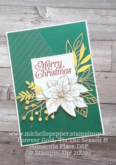 Forever Gold Poinsettia Merry Christmas Card