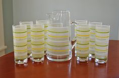 #MidCentury #Cocktail Set, 9 Piece Frosted Striped Glass Drink Set, #Vintage #Barware, Green Yellow White Pitcher #TomCollins Zombie #Tumbler Glasses