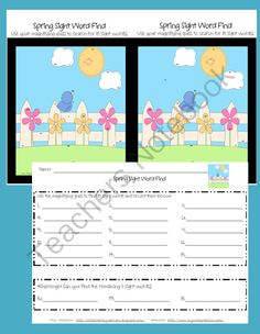 Kindergarten Sight Word Find-Spring from LittleLiteracyLearners on TeachersNotebook.com -  (3 pages)