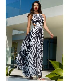 039f3b98cfe Zebra print maxi dress with side and back cut out detail. This Forever  Unique dress is fully lined with bust cups and invisible centre back zip  with hook ...