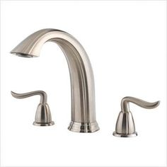 Buy the Pfister Brushed Nickel Direct. Shop for the Pfister Brushed Nickel Santiago Deck Mounted Roman Tub Filler and save. Shower Fixtures, Shower Faucet, Shower Tub, Roman Tub Faucets, Bathroom Faucets, Master Bathroom, Brushed Nickel Faucet, Diy Deck, Building A Deck