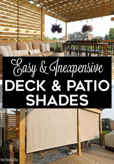 Last week, when I shared a tour of our summer deck, I mentioned how in the evenings we get blasted in the face while out on the deck. Well, today I'm sharing our outdoor deck shade solution. Backyard Shade, Pergola Shade, Pergola Patio, Backyard Patio, Pergola Ideas, Shade For Patio, Shade Ideas For Backyard, Metal Pergola, Pergola Plans