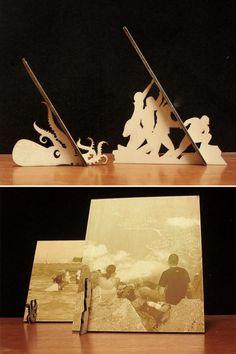 Wooden standing pictures by Sebastian Ozga, via Behance