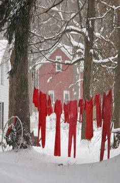 Clothes Line in the winter Cute for xmas Primitive Christmas, Country Christmas, All Things Christmas, Winter Christmas, Christmas Holidays, Christmas Decorations, Christmas Signs, Christmas Lodge, Christmas Scenery