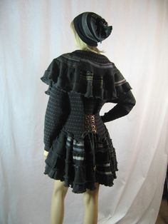 BOHO Gypsy Upcycle Sweater Coat Cape Large Charcoal Grey JAcket. $298.00, via Etsy.