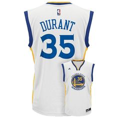 Men's Adidas Golden State Warriors Kevin Durant NBA Replica Jersey, Size: Medium, White