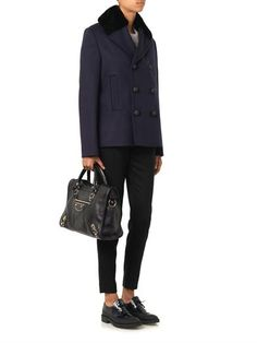 Balenciaga Fur-collar wool-blend pea coat