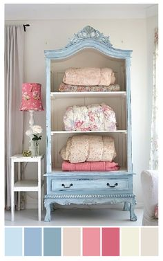 cottage chic color palette | dusty blue, pink + cream ....I would like a aqua blue instead...but love the idea #shabbychicbedroomsgirls