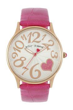 Pink Crocodile Embossed Strap Watch