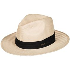A Caribbean classic that updates salty beach waves with an exotic aesthetic, this traditional bleached straw Panama hat celebrates the iconography of Cuba with…